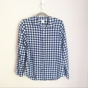 J Crew Factory Navy and White Gingham Shirt